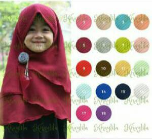 Jilbab/hijab Khimar anak (U 4-6th)