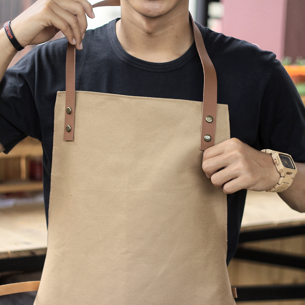 jual apron canvas and synthetic leather celemek barista
