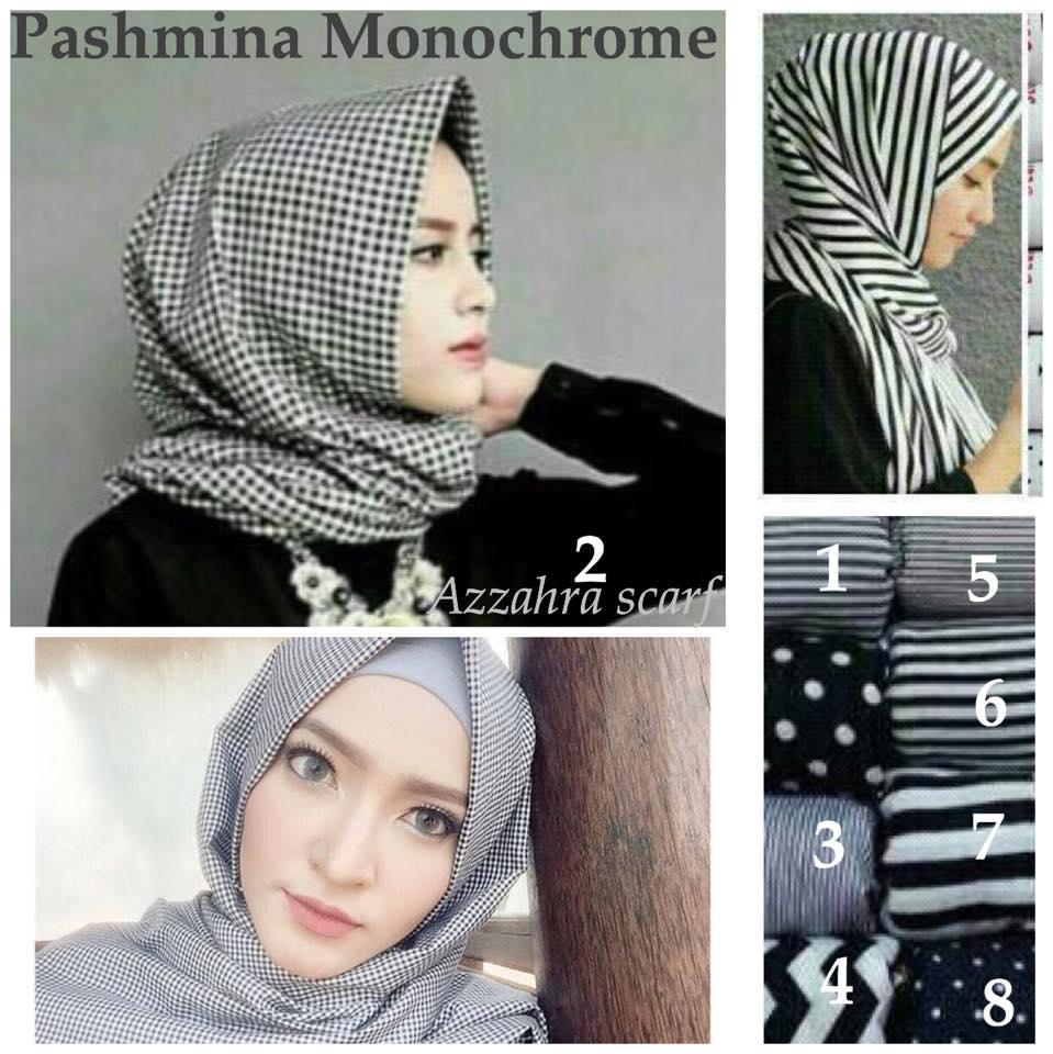 Jual PASHMINA Monochrome By Azzahra Scarf Hijab Allmira Tokopedia