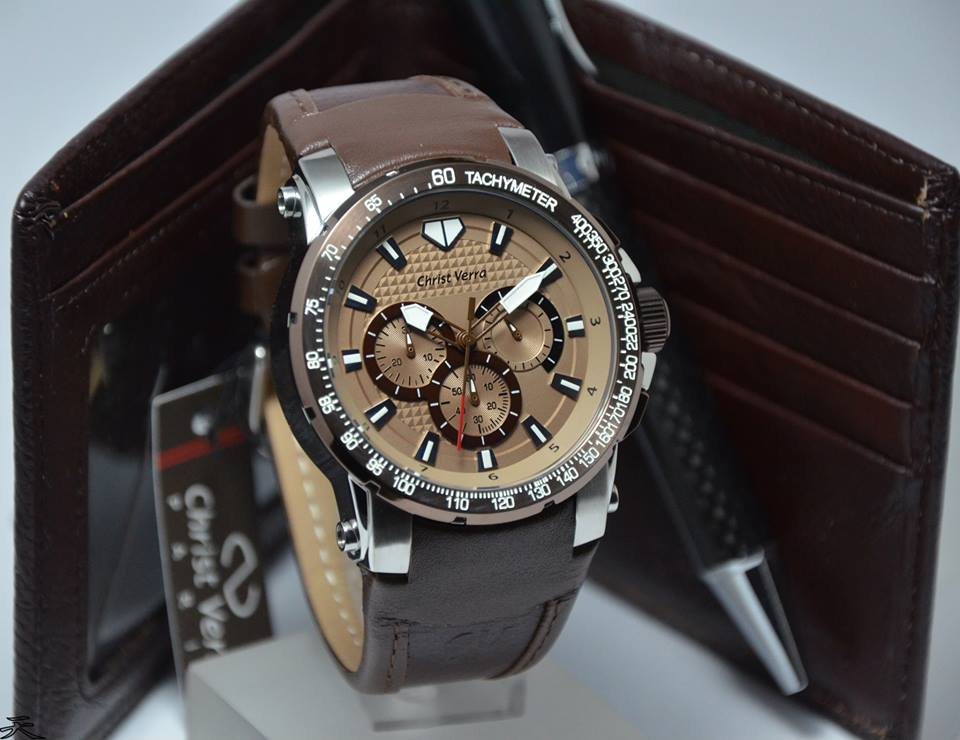 Christ Verra Jam Tangan Pria Leather Strap. Source · Jual Christ Verra  2041G 2E SIlver Brown Leather Original 8a0b0d1388