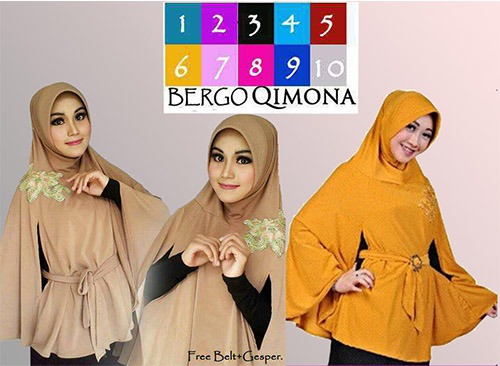 Hijab/Jilbab Bergo Qimona / Kimono