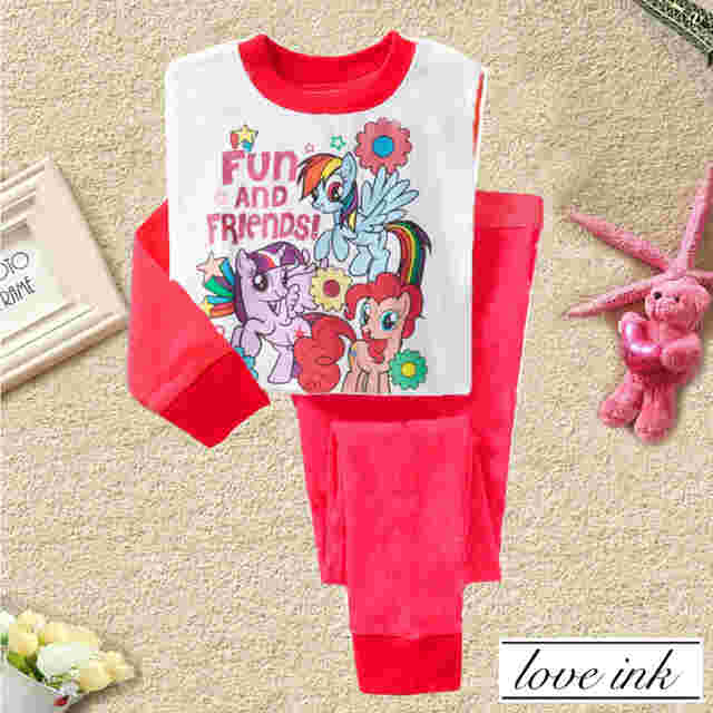 STKD212 - Setelan Anak Little Pony White Red Fun & Friends Murah