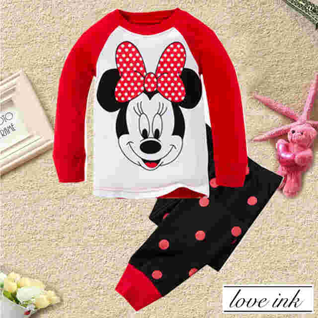 STKD213 - Setelan Anak Minnie Mouse Red Ribbon Black Dot Pant