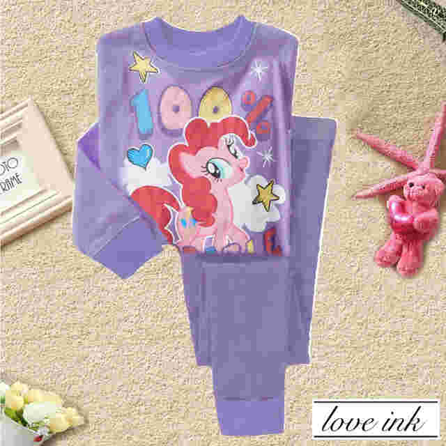 STKD210 - Setelan Anak Little Pony Purple 100% Adorable Murah
