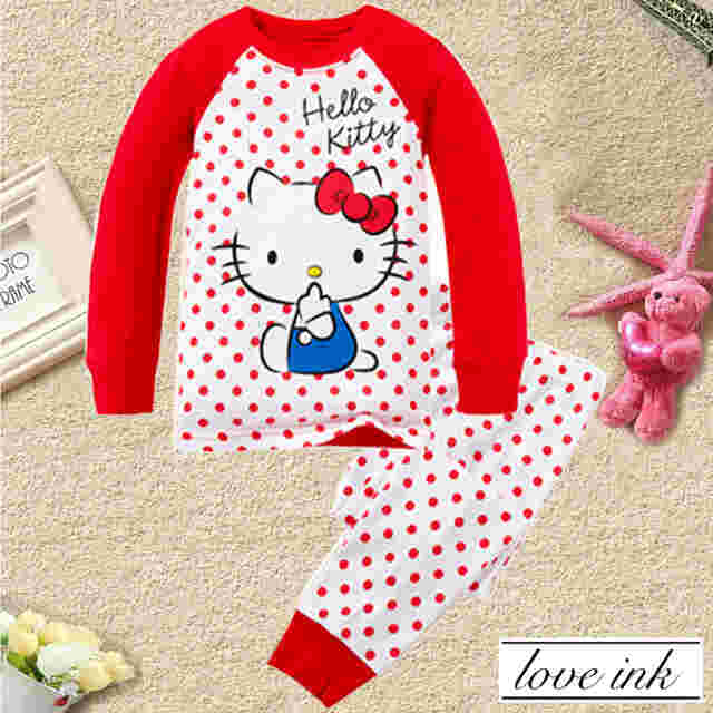 STKDHK108 - Setelan Anak Hello Kitty Red Dot Murah