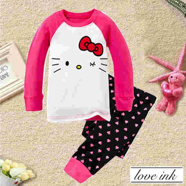 STKDHK109 - Setelan Anak Hello Kitty Red Ribbon Dot Love Murah