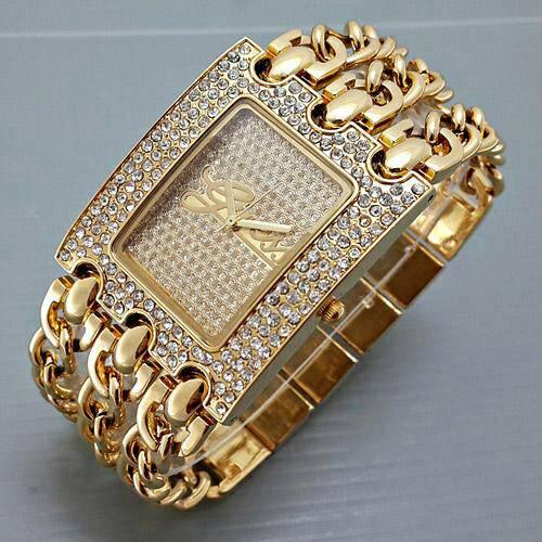 Jam Tangan wanita / Cewek Guess 3 Rantai Plat Diamond Gold