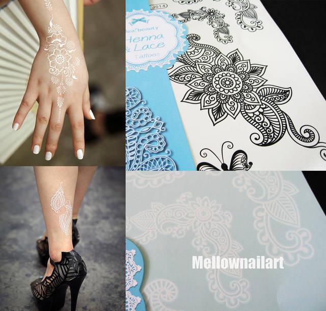Jual 1pc White Black Henna Ink Lace Temporary Tattoo Tato Fashion