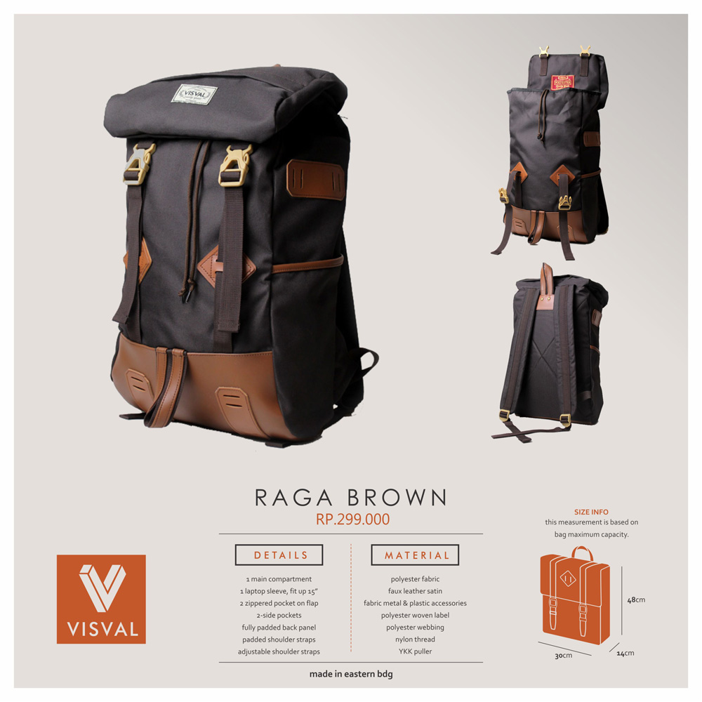 Jual Tas Visval Backpack Raga Brown Arsanstore Tokopedia Ransel Distro Traveling Lots Of Pockets