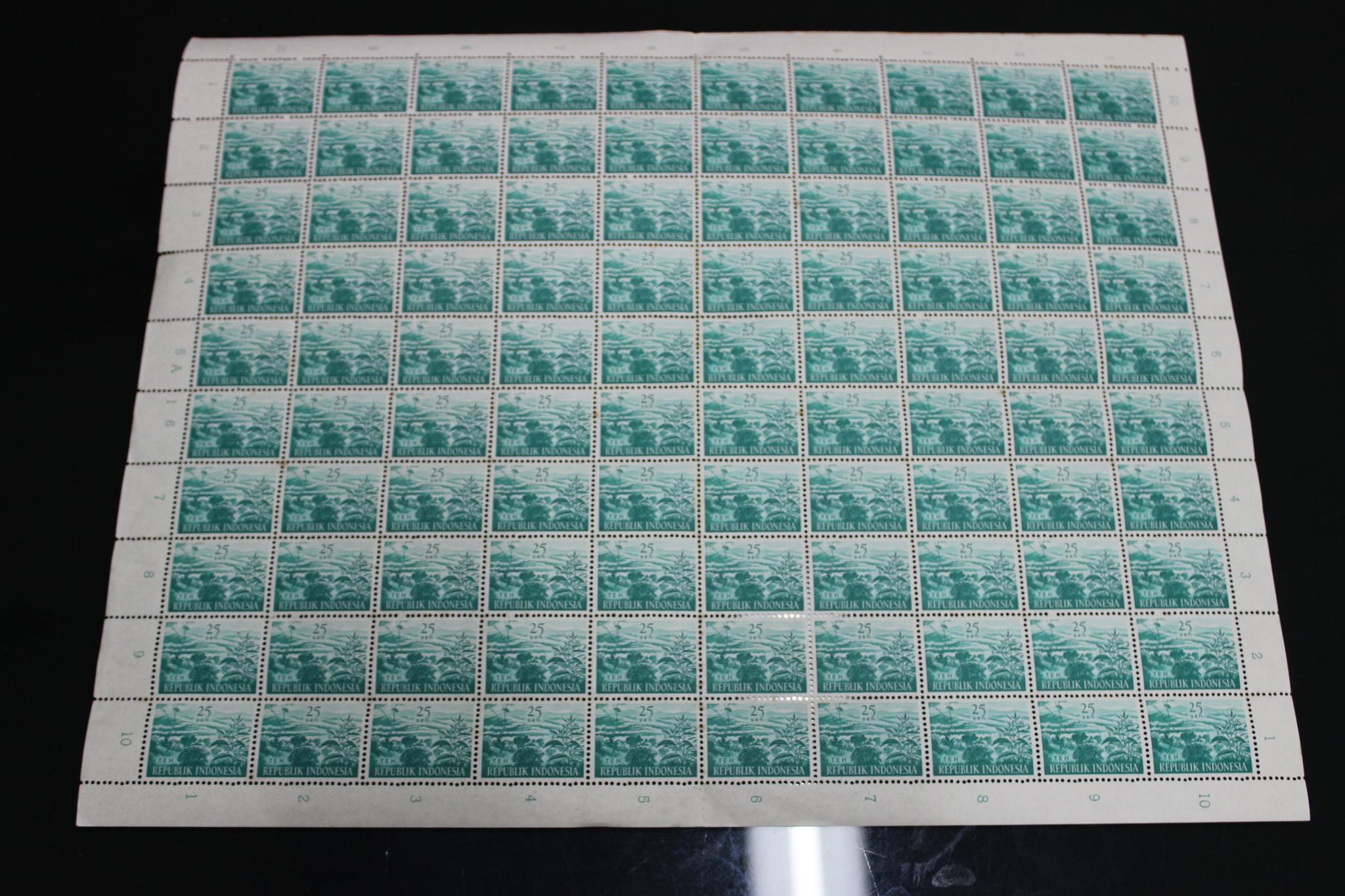 harga Perangko Kuno Lama Full Sheet 25 Sen 1960 (Perkebunan Teh) Tokopedia.com