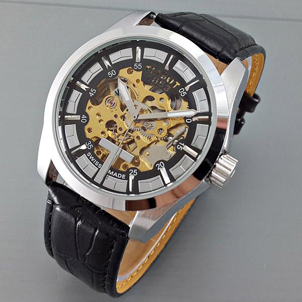 Jam Tangan Pria Tissot Skeleton Machine Leather Black Silver Automatic