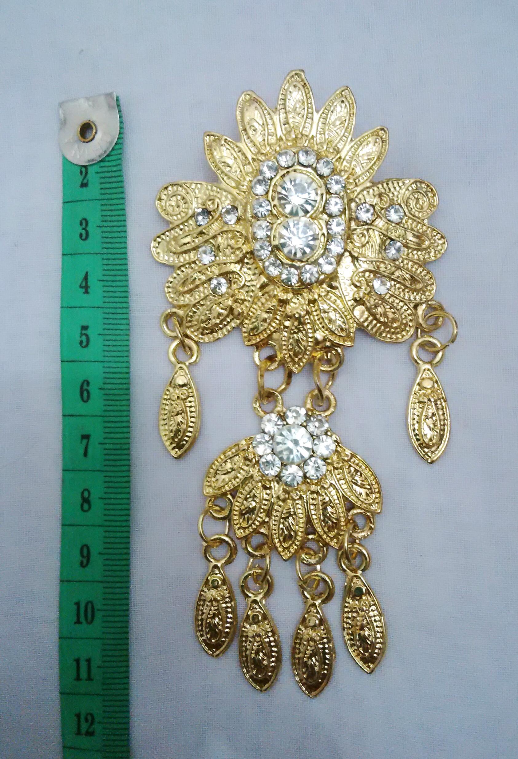 Bros kebaya/hijab metal juntai 2 tingkat gold swarovski/permata putih