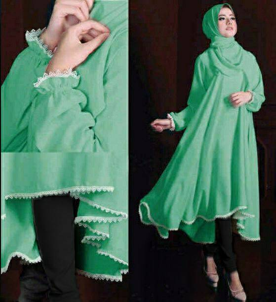 Hijab Tunik Renda Audrey Set 3in1 Green