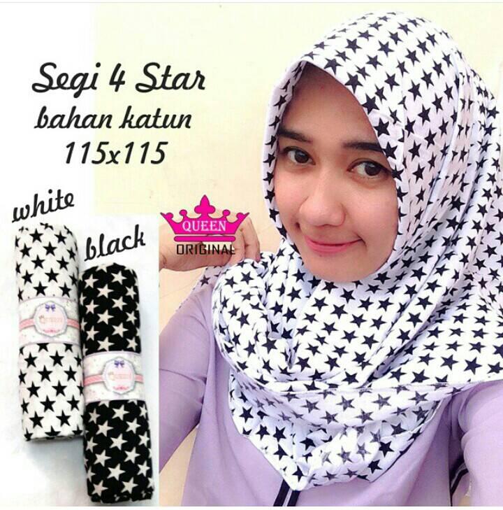 segi4 star / bintang square / jilbab segi4 katun monokrom hijab