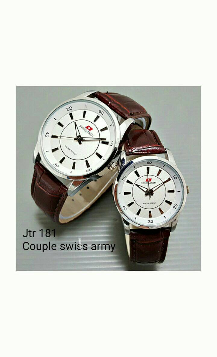jam tangan couple swiss army / jtr 181 maron