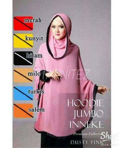 Jilbab Hijab Instan Hoodie Ineke Jumbo Ciffon Cerruti Panjang Syari