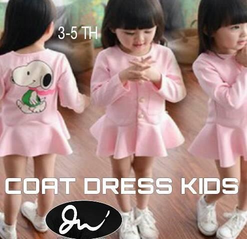 COAT DRESS KIDS / BAJU TERUSAN ANAK PINK 3 4 5 TAHUN