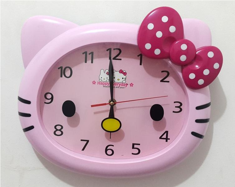 Jam Dinding 15145 - Hello Kitty - Pink Full Polkadot