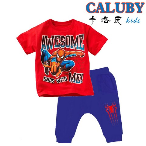 SALE baju anak import kode FS 16, size 2,3,4,5,6,7y stelan spiderman