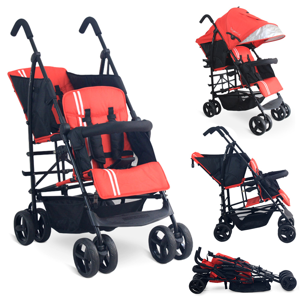 Tandem Twin Double Stroller Kembar Baby Tinyworld RED Merah TWDUO-R