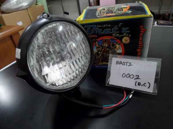 LAMPU DEPAN / HEAD LAMP BRATZ 0002 BLACK / CHROOM HQ BAHAN LOGAM