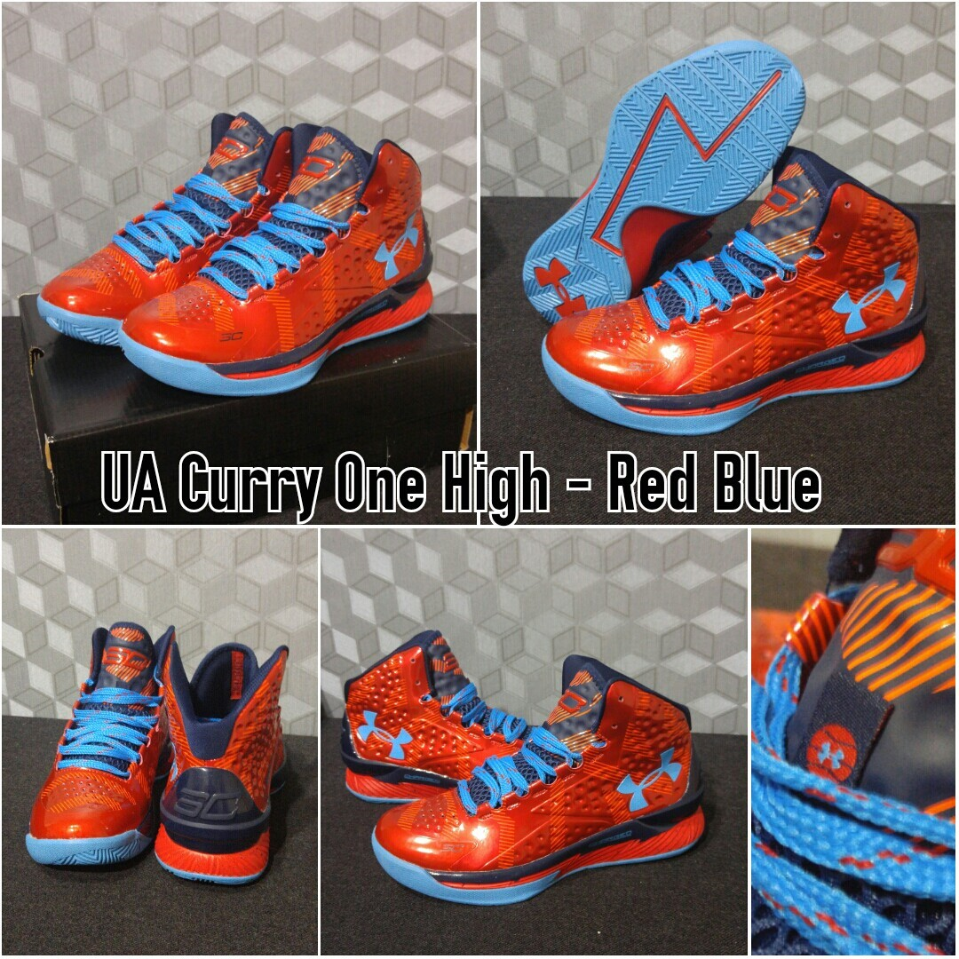 Jual SEPATU BASKET UNDER ARMOUR CURRY 1 HIGH RED BLUE