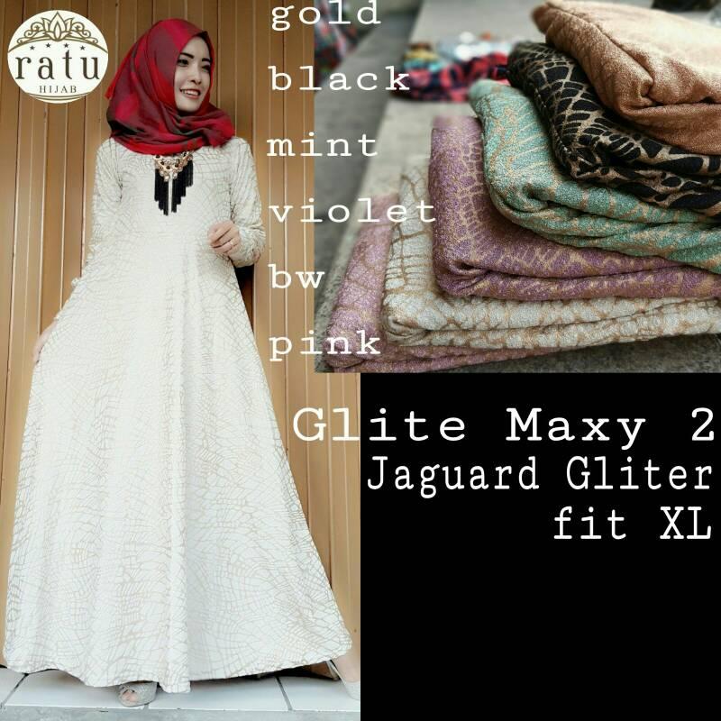 supplier baju hijab : glite maxi ori by ratu / gamis glitter pesta