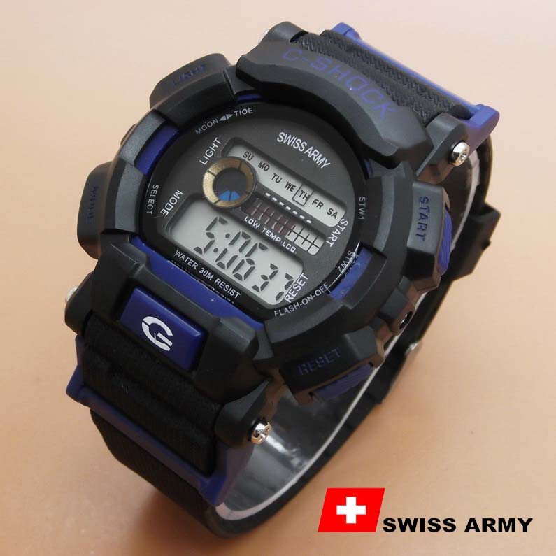 Jual Jam Tangan Swiss Army Rubber H Black Blue Ab1982 Di