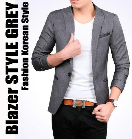 Jual Style Grey Blazer Jas Pria Cowok Slimfit Korea Casual Abu Keren Slimfit Shop Tokopedia