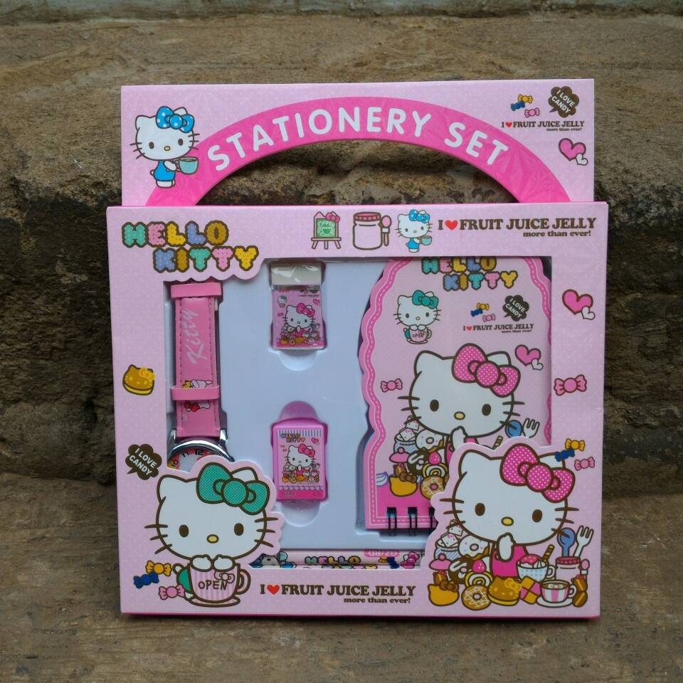 Jual Jam Tangan Hello Kitty Set Paket Alat Tulis Cantik Souvenir 1 Gift Kellybutiq Tokopedia