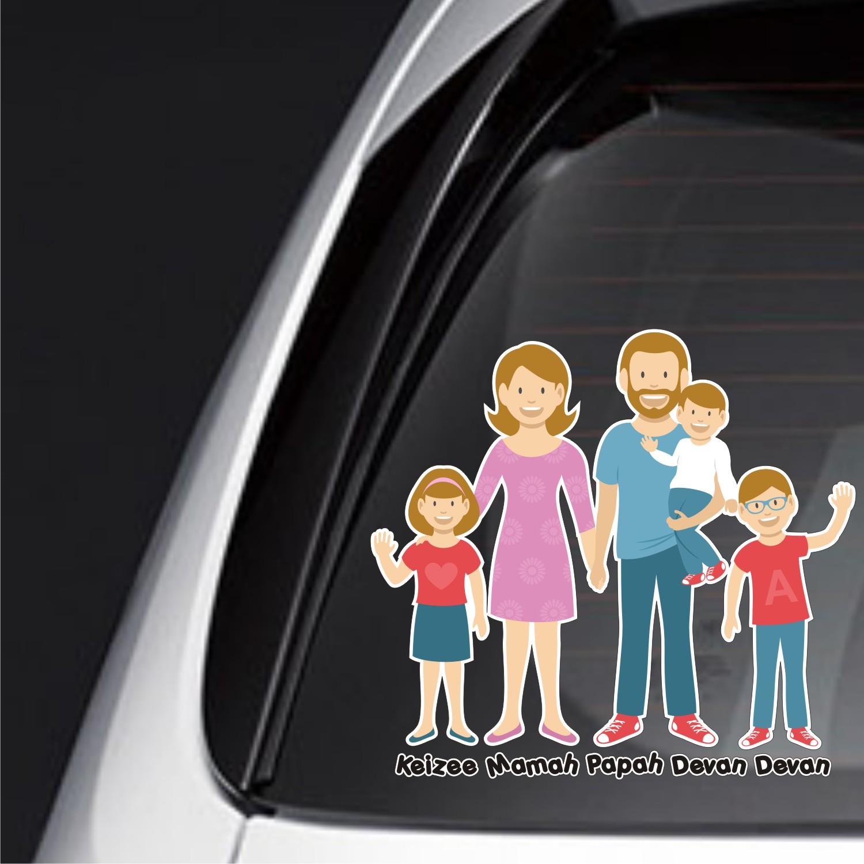 sticker family keluarga anak mobil custom livina jazz baby FSKPC-018
