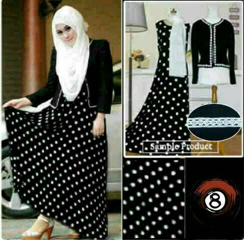 Hijab Vanelia Black / hijab polka hitam