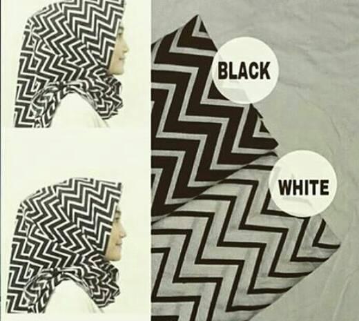 hijab kerudung monochrome zigzag pashmina dan segiempat