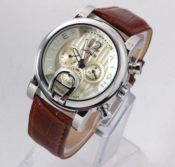 Jam Tangan Pria Aigner Bari Chrono Automatic Leather Brown Silver