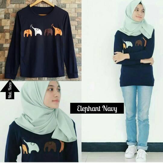ELEPHANT NAVY TOP / KAOS ELEPHANT / GAJAH / ATASAN HIJAB / OOTD / HOTD