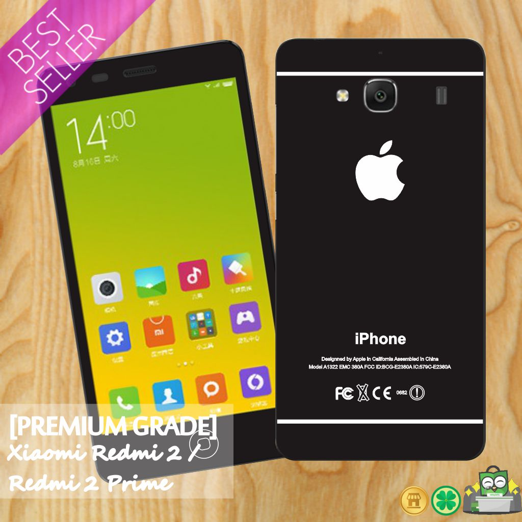 Jual Premium Garskin Skin Xiaomi Redmi 2 Prime Iphone Black Style Guarskin Indonesia Tokopedia