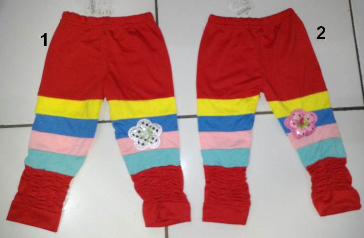 CLKD14 - Celana Legging Anak Rainbow Kerut Sz.1 Murah