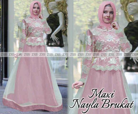 Jual Nayla Pink Gamis Kondangan Baju Muslim Pesta