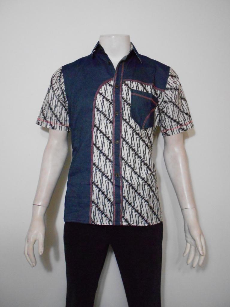 Harga Baju Batik Pria Kemeja Jeans Kombinasi Batik Hem