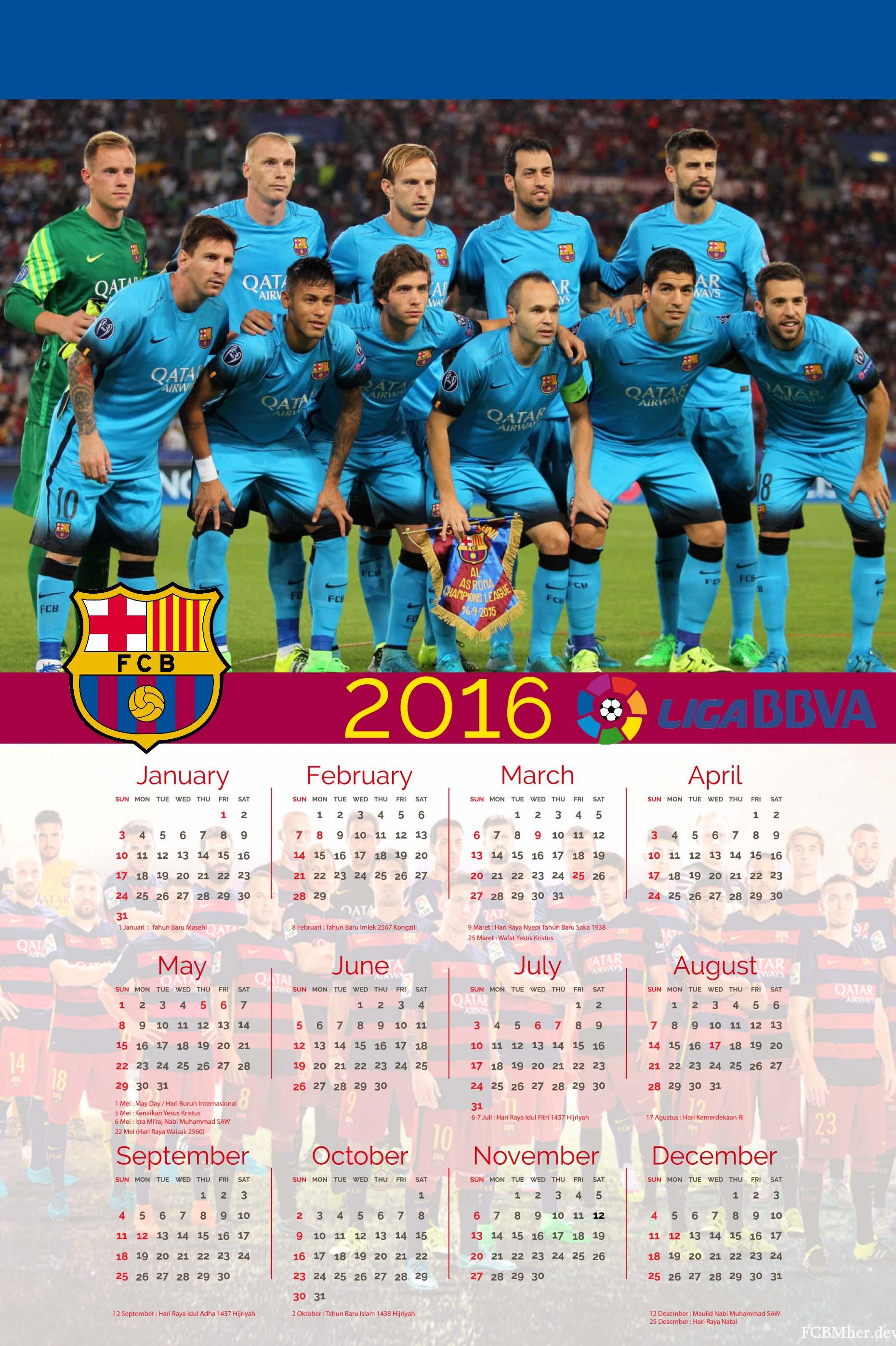 Jual Kalender 2016 Barcelona versi 1 Lembar - Aqilahku | Tokopedia
