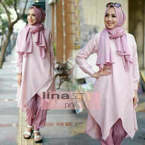 Hijab Lina Set 3in1 pink Salem ( Blouse + Celana + Pashmina )