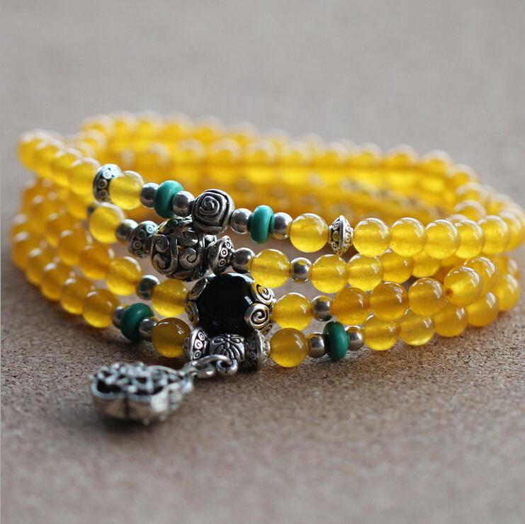 harga Gelang Batu Natura Akik Giok Chalcedony Kuning 108 Butir 6mm Tokopedia.com