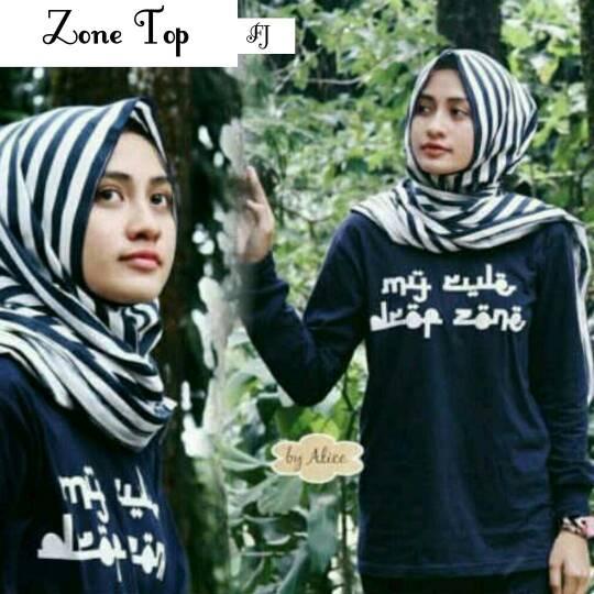 zone top ( baju hijab / kaos tulisan arab )