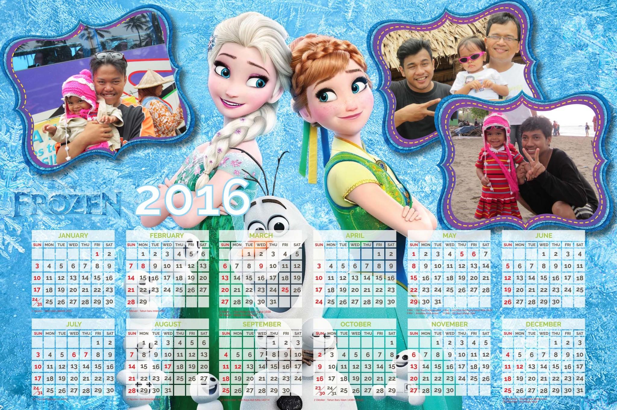 Jual Kalender Foto 2016 Tema Frozen - Aqilahku | Tokopedia