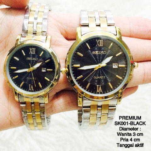Jam tangan couple pasangan SEIKO premium stainless steel watch gold