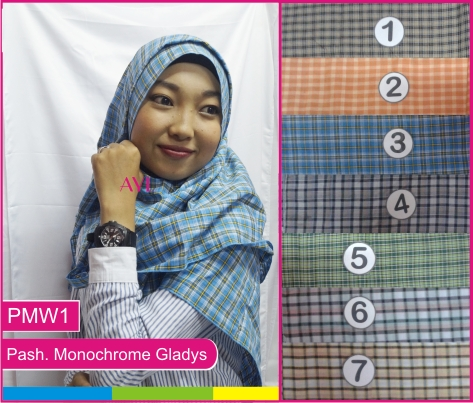 Jilbab Pashmina Monochrome Gladys PMW1 (Grosir Kerudung/Hijab Murah)