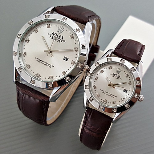Jam Tangan Rolex Couple Leather Brown Silver Harga Sepasang