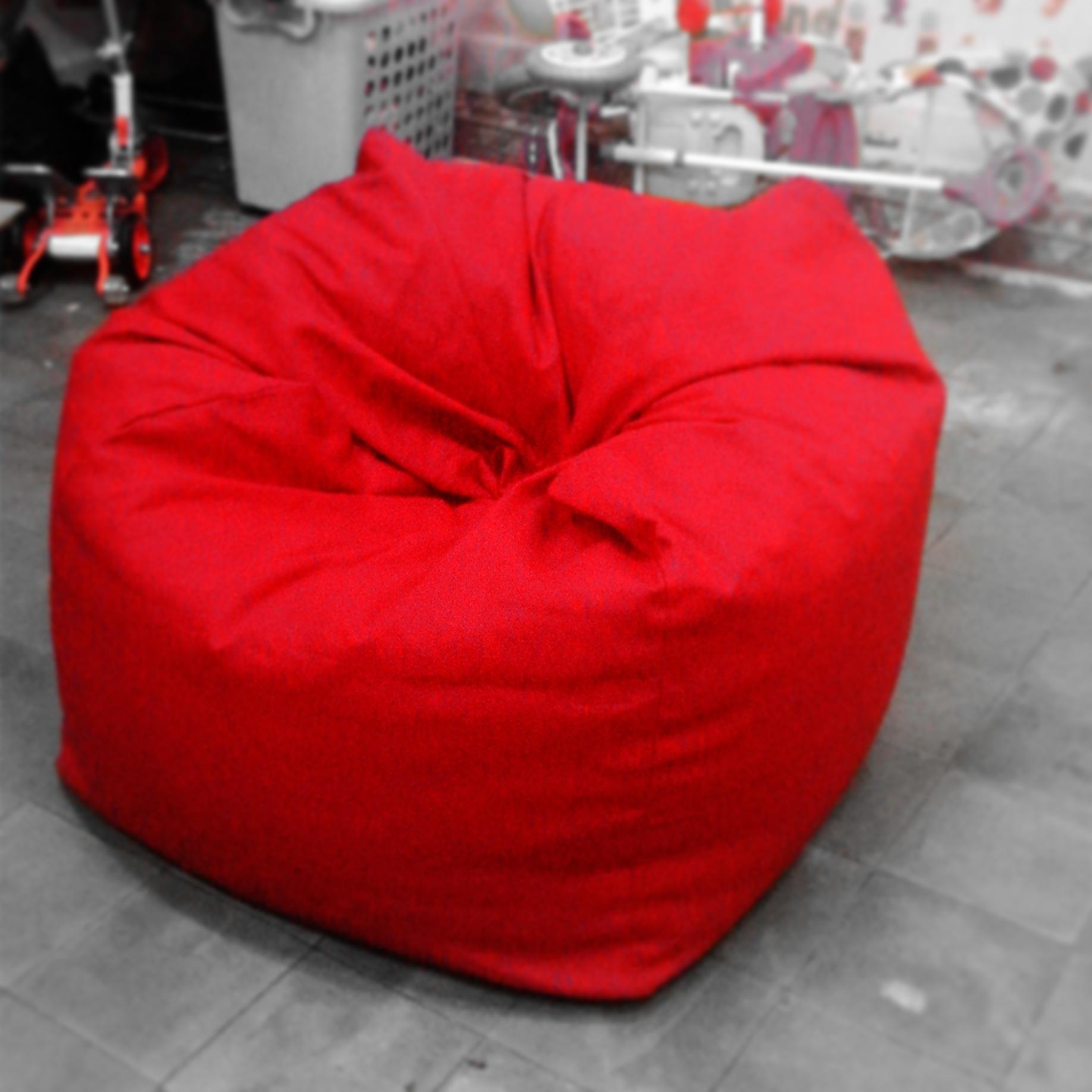 Jual Bean Bag Chair Kanvas Merah Polos Size M