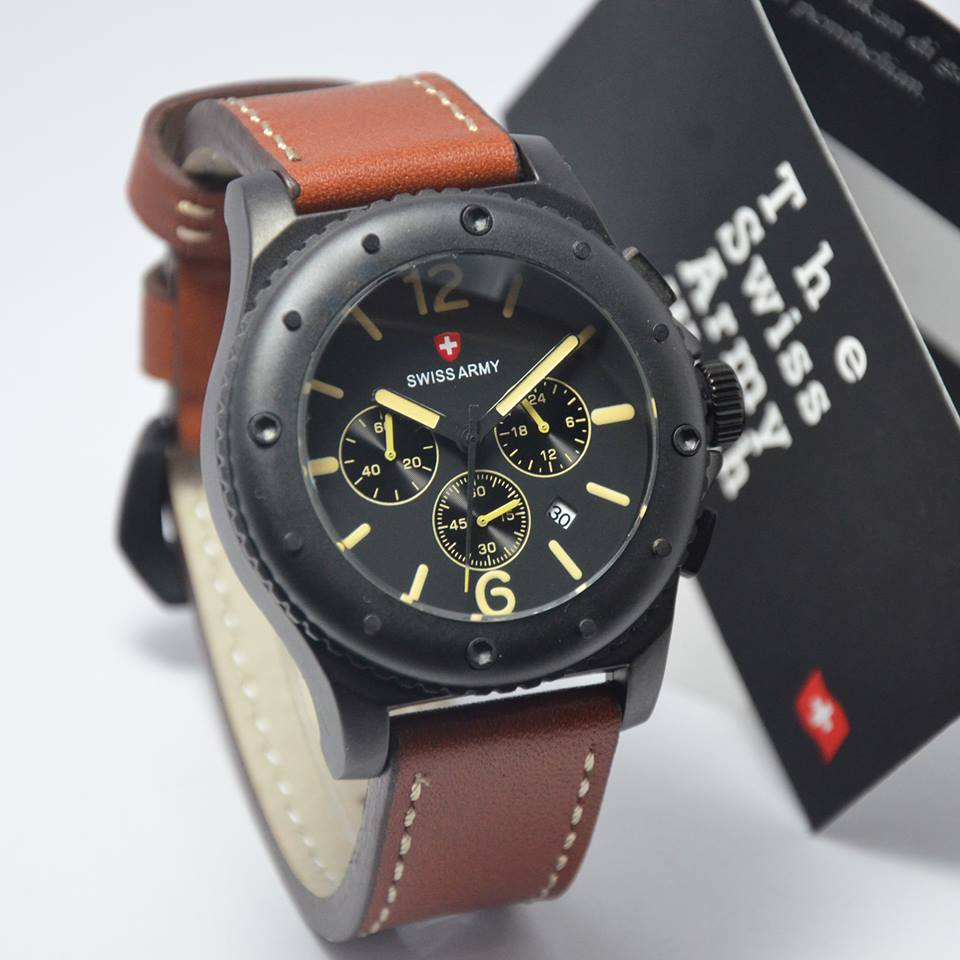 harga Swiss Army SA4089M Black Brown Leather Tokopedia.com