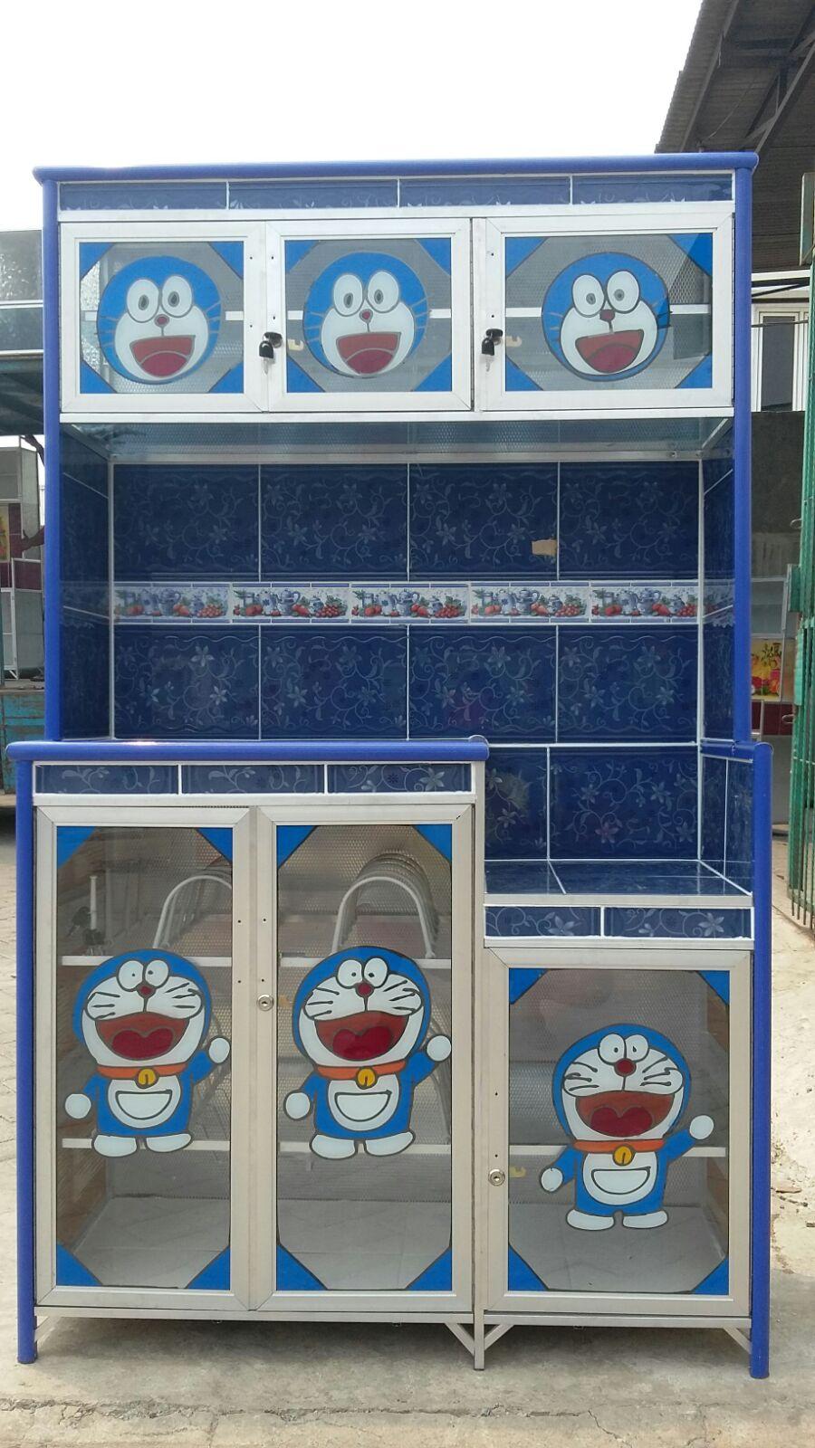 jual lemari rak piring 3 tiga pintu super motif kartun
